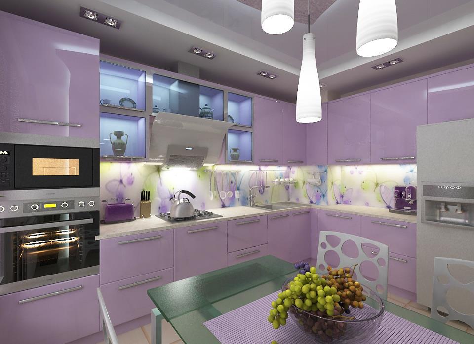 перед тобою, кухня слива лаванда примеры дизайн фото острове четвертый
